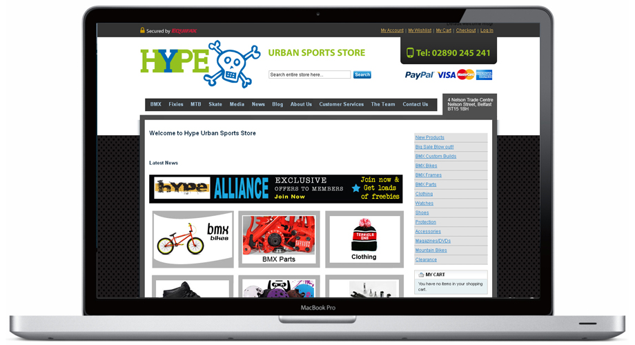 Website Design for Hype Urban Sports Store Belfast