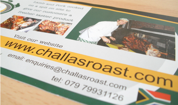 graphic design belfast challas hog roast leaflet design